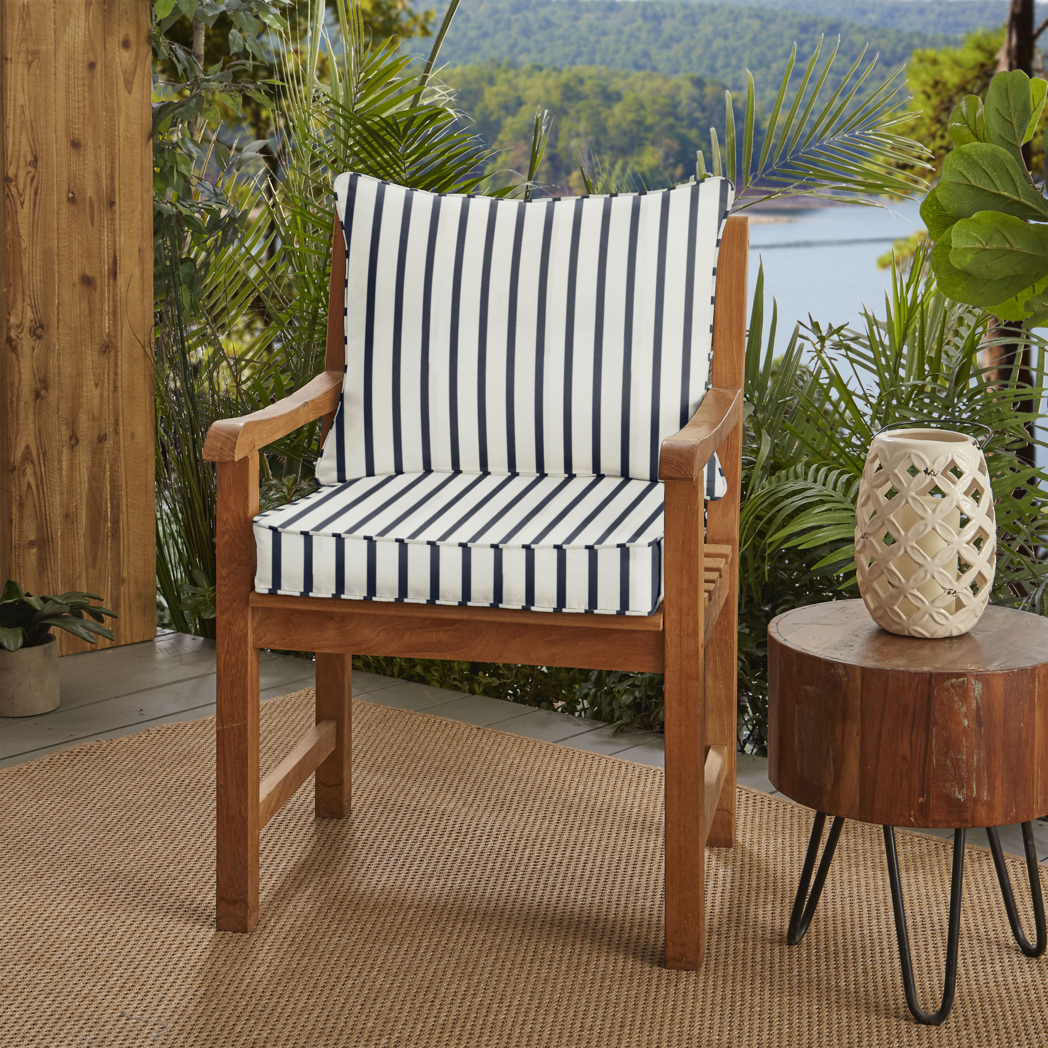 Breakwater Bay Stripe Indoor Outdoor Sunbrella Dining Chair Cushion Wayfair