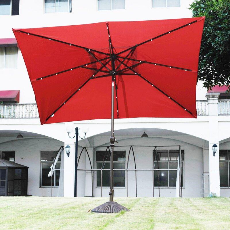 7u0027 x 9u0027 Rectangular Lighted Umbrella & Abba Patio 7u0027 x 9u0027 Rectangular Lighted Umbrella u0026 Reviews | Wayfair