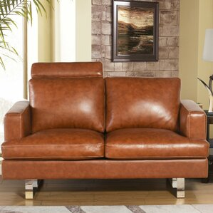 Charles Mid Century Top Grain Leather Lovese..