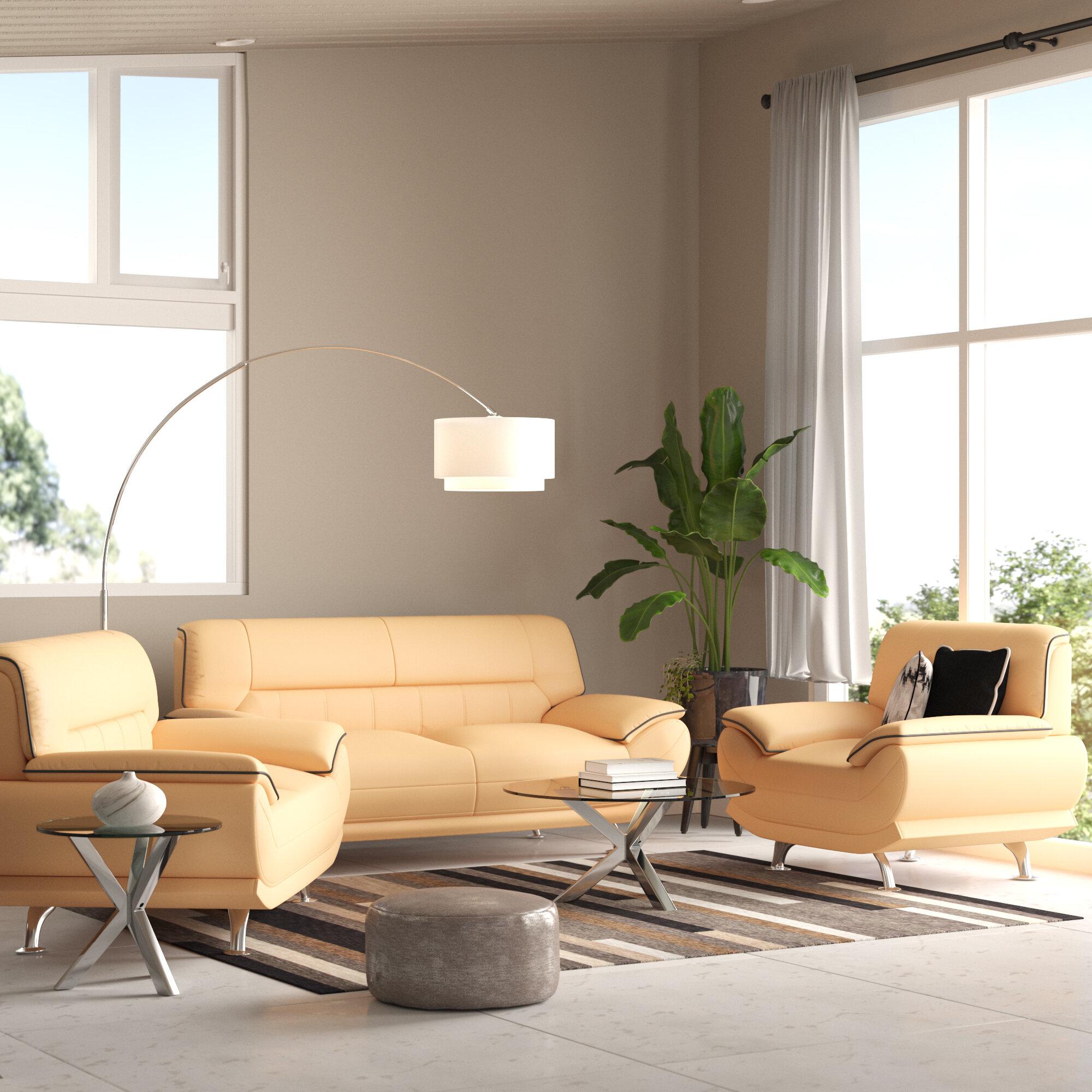 Orren Ellis Holbrooke Leather 3 Piece Living Room Set Reviews Wayfair