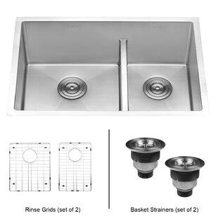 Ruvati Tirana Low Aqua Double Basin Undermount Kitchen Sink
