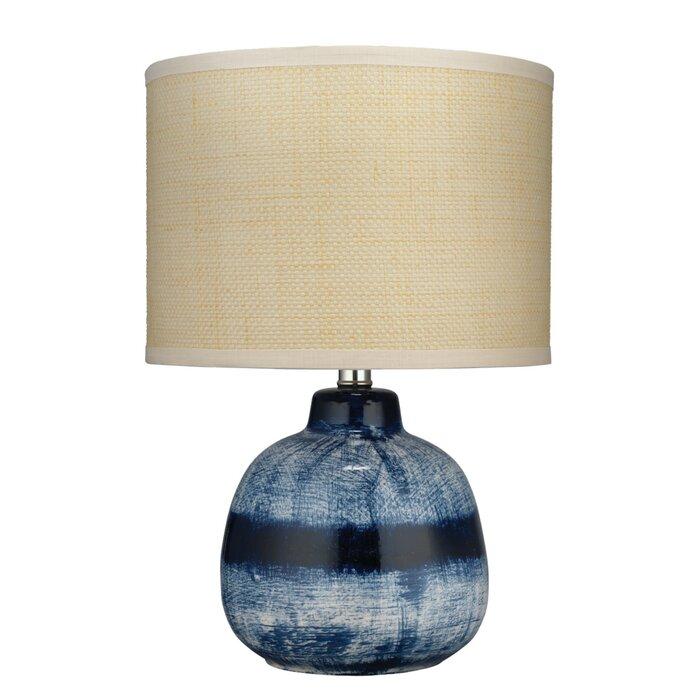 Small Batik Table Lamp In Indigo Ceramic With Drum Shade Raffia