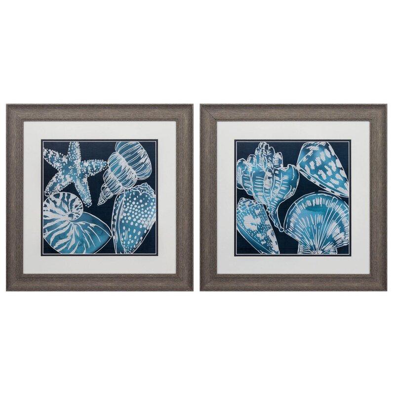 Highland Dunes Marine Shells 2 Piece Picture Frame Graphic Art Print Set On Paper Wayfair
