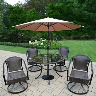 Darby Home Co Parishville 5 Piece All Weather Resin Wicker Dining Set with Umbrella