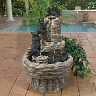 Wildon Home ® Resin Rocky Mountain Splash Black Bears Garden Fountain
