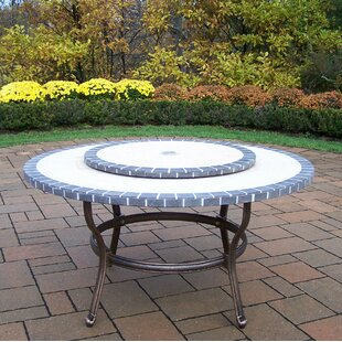 Stone Art Coffee Table with Lazy Susan
