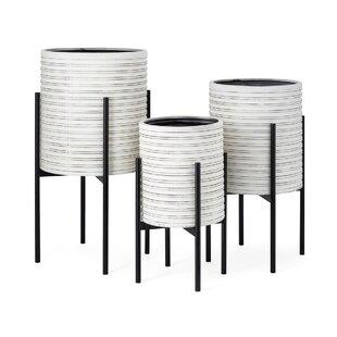Crumpton 3-Piece Metal Pot Planter Set