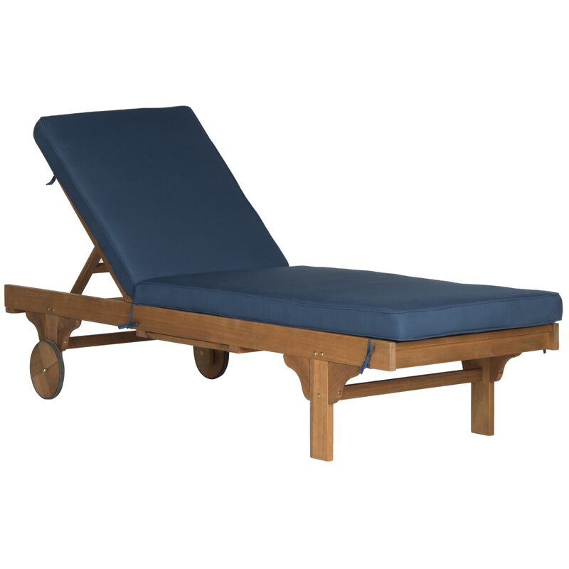 Sol 72 Outdoor Alvah 78.70 Inch Long Reclining Single Chaise with Cushion and Table (Navy)