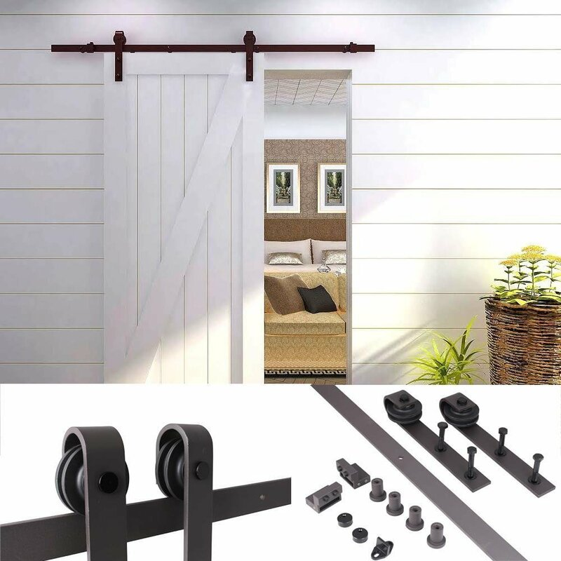 Country Antique Sliding Single Track Barn Door Hardware Kit - Country Antique Sliding Single Track Barn Door Hardware Kit