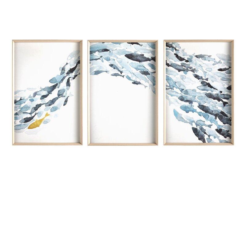 Breakwater Bay Goldfish By Deborah Pearce 3 Piece Picture Frame Painting Set On Paper Wayfair Co Uk