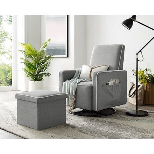 Wiggins Upholstered Swivel Glider and Ottoman