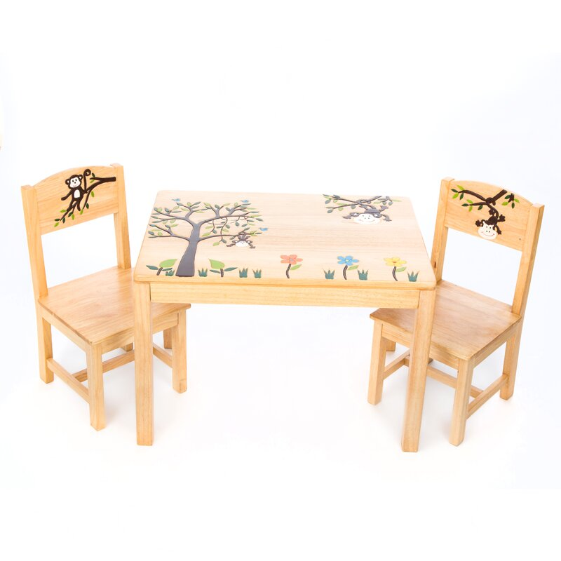 Big Tree With Monkey Childrenu0027s Rectangular Side Table