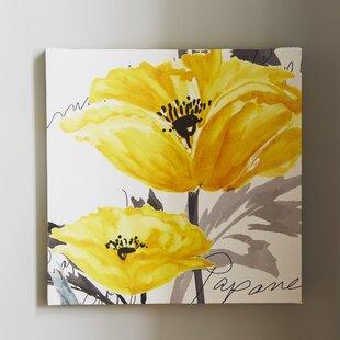 Elegant Poppy I Framed Watercolor Painting Print On Canvas