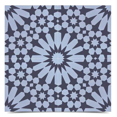 SAMPLE - Agdal Handmade Cement Tile Moroccan Mosaic Finish: Gray/Black