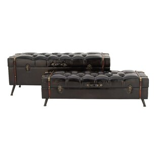 Cochran 2 Piece Wood and Leather Storage Trunk Set