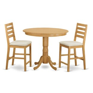 Trenton 3 Piece Dining Counter Height Pub Table Set Wooden Importers