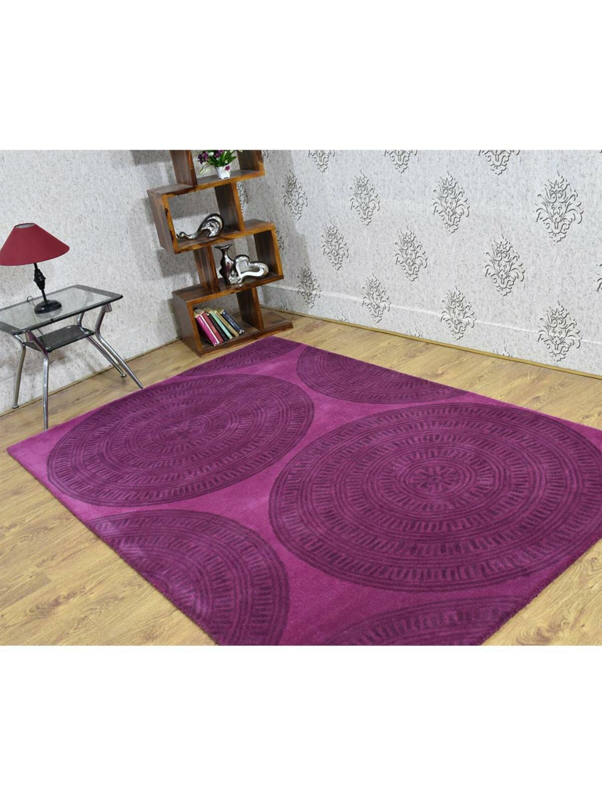 World Menagerie Rugsotic Carpets Hand Tufted Wool 5 X 7 6 Rectangle Area Rug Contemporary Violet Grey K03140 Wayfair Ca