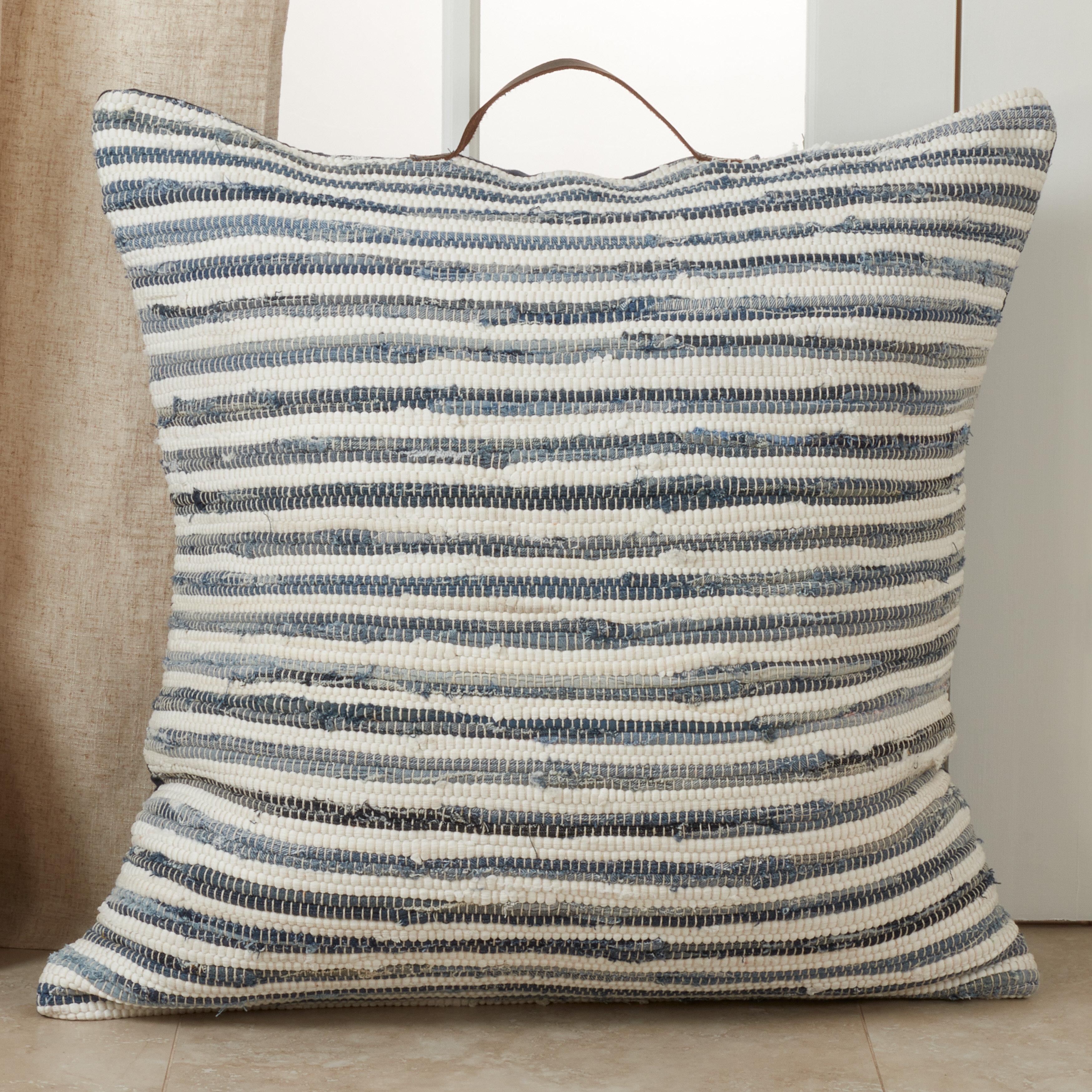 Highland Dunes Javen Cotton Striped Floor Pillow Wayfair