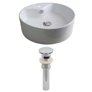 Bargain Ceramic Circular Vessel Bathroom Sink with Overflow By American Imaginations