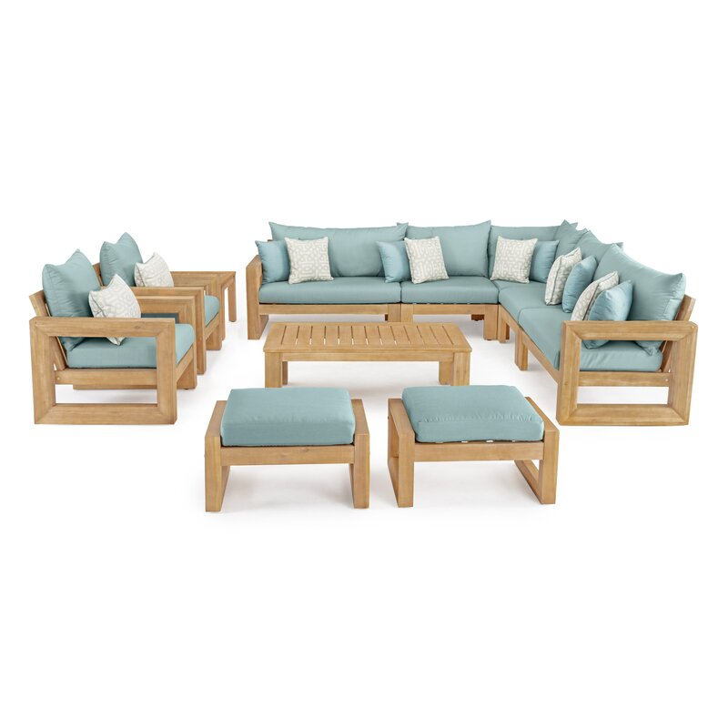 Rosecliff Heights  Mcclain 11 Piece Sunbrella Sectional Seating Group with Cushions Cushion Color: Spa Blue