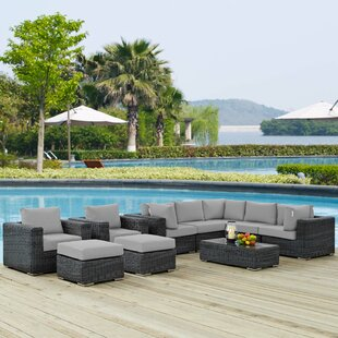 Alaia 10 Piece Rattan Sunbrella Sectional Seating Group with Cushions