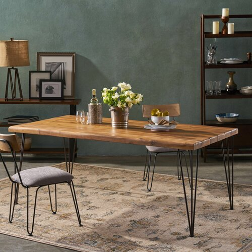Union Rustic Vikesha Solid Wood Dining Table Reviews Wayfair Ca