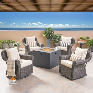 Vanhorn Outdoor 5 Piece Firepit Set with Cushions