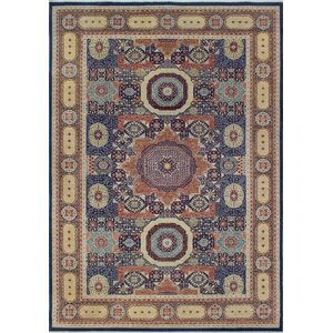 Blanca Oriental Hand Knotted Wool Blue Area Rug