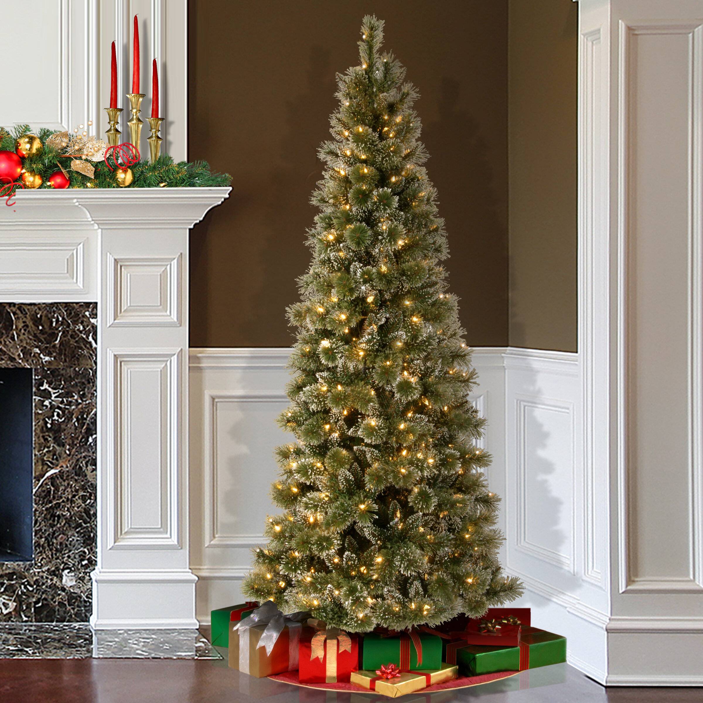 darby home co pine 75 green slim artificial christmas tree with 600 soft white led lights with stand reviews wayfair - Slim Christmas Tree With Led Lights