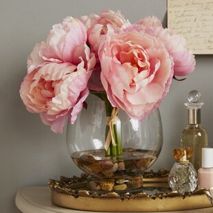 Artificial flower arrangements youll love wayfair peonies in a glass vase with river rocks and faux water mightylinksfo