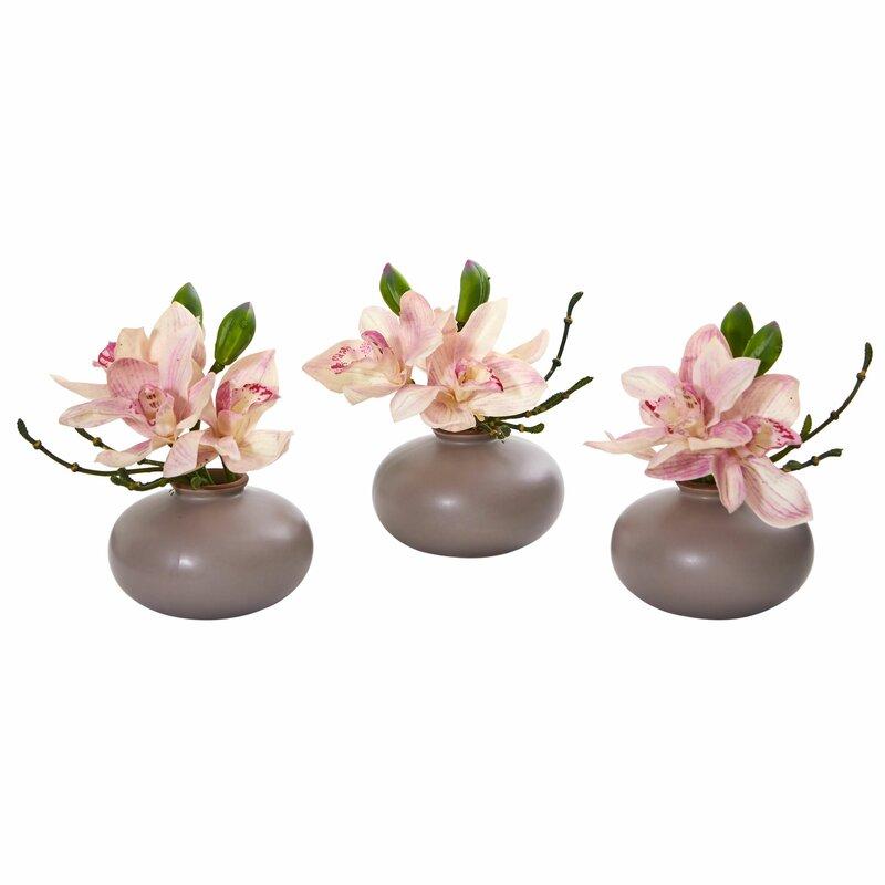 floral home decor orchid floral design wayfair.htm mistana cymbidium orchid floral arrangement in vase   reviews  mistana cymbidium orchid floral