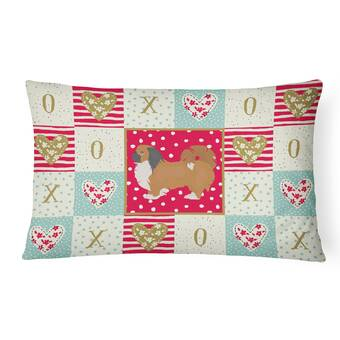 The Holiday Aisle Libbie Khao Manee 2 Cat Love Indoor Outdoor Patchwork Lumbar Pillow Wayfair