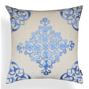 Leanne Baroque Periwinkle Cotton Throw Pillow