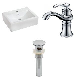 Compare Ceramic 16 Wall Mount Bathroom Sink with Faucet and Overflow By American Imaginations