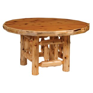 Traditional Cedar Log Round Dining Table Fireside Lodge
