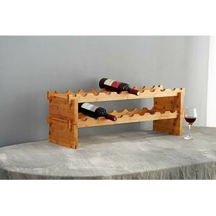 Grena Bamboo Stackable 18 Floor Wine Bottle Rack