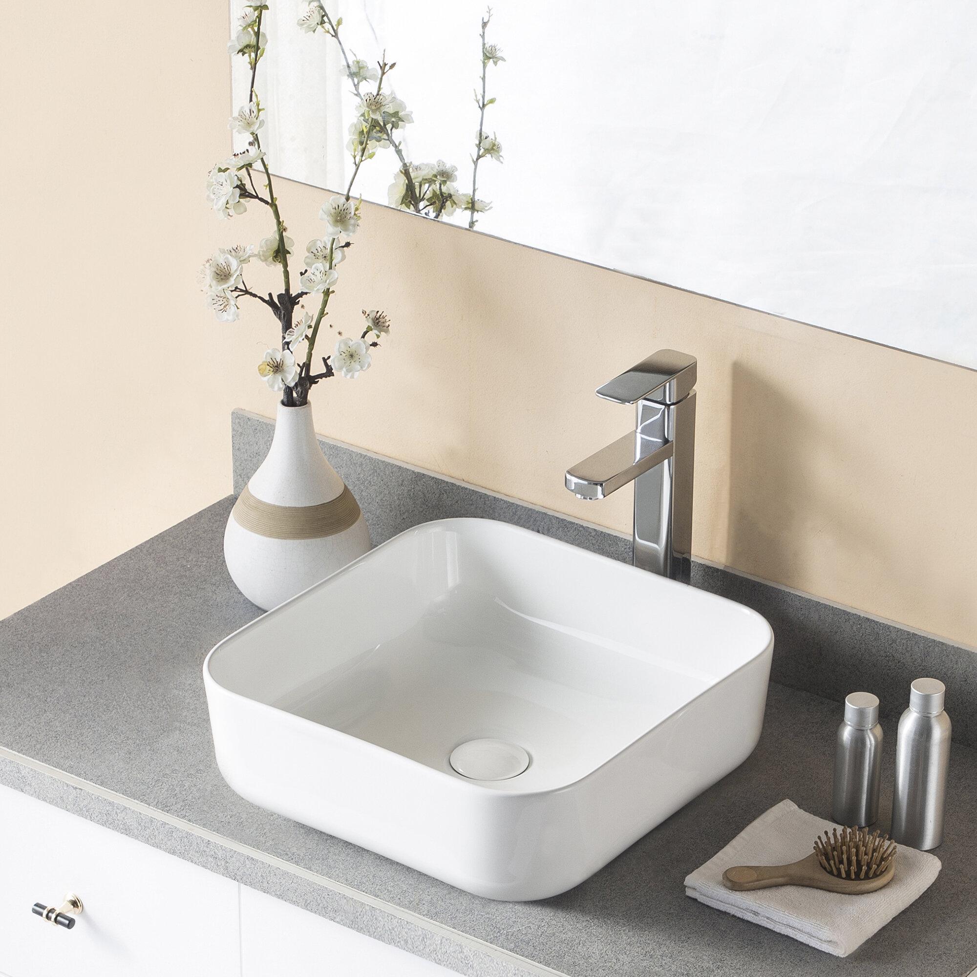 Deervalley White Ceramic Square Vessel Bathroom Sink Reviews Wayfair