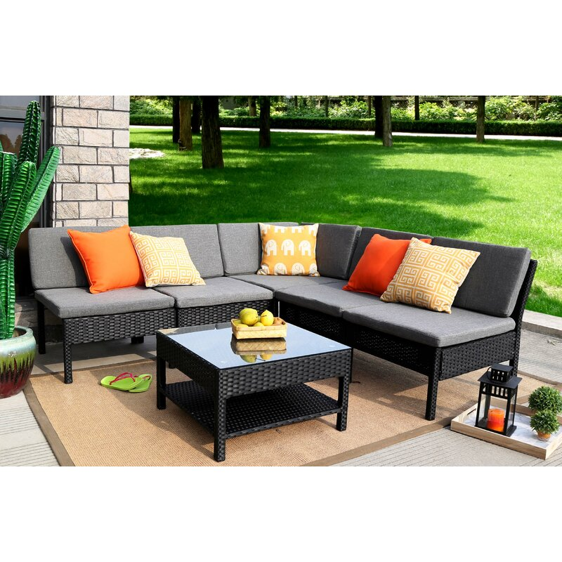 Merveilleux Maryann Complete Patio Garden 6 Piece Sectional Set With Cushions
