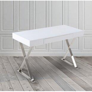 Frazier High Gloss Stainless Steel Office Writing Desk