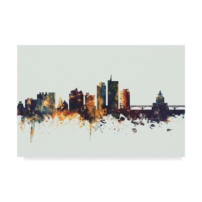 "Cedar Rapids Iowa Skyline IV' Graphic Art on Wrapped Canvas Wrought Studio™ Size: 12"""" H x 19"""" W x 2"""" D -  4A9D7F52C36C4F728D07AC8FED7C30EA"