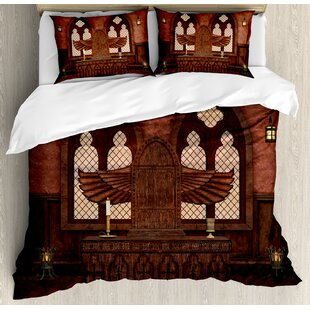 East Urban Home Gothic Medieval Altar in Church Religious Tradition Ritual Deity Temple Worship Graphic Duvet Set