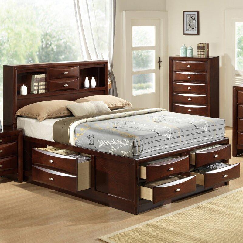 Platform Bed Frames With Drawers global furniture usa linda storage platform bed & reviews | wayfair