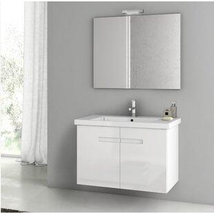 New York 34 Wall-Mounted Single Bathroom Vanity Set with Mirror by ACF Bathroom Vanities