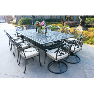 Gunter 13 Piece Dining Set with Sunbrella Cushions