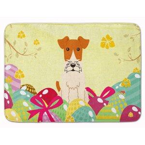 Easter Eggs Wire Fox Terrier Memory Foam Bath Rug