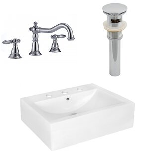 Comparison Above Counter Ceramic Rectangular Vessel Bathroom Sink with Faucet and Overflow By Royal Purple Bath Kitchen