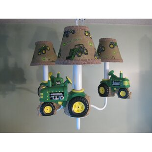 Silly Bear Lighting Farm Tractors 3-Light Shaded Chandelier