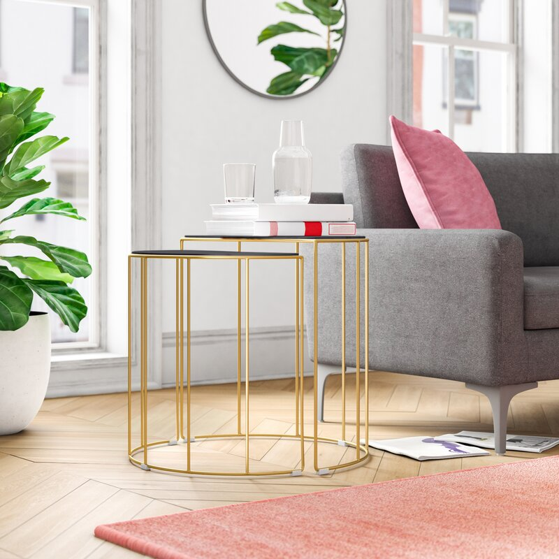 Allmodern Cortez 2 Piece Marble Top Frame Nesting Tables Reviews Wayfair