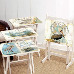 Shore Birds TV Tray with Stand Set of 4