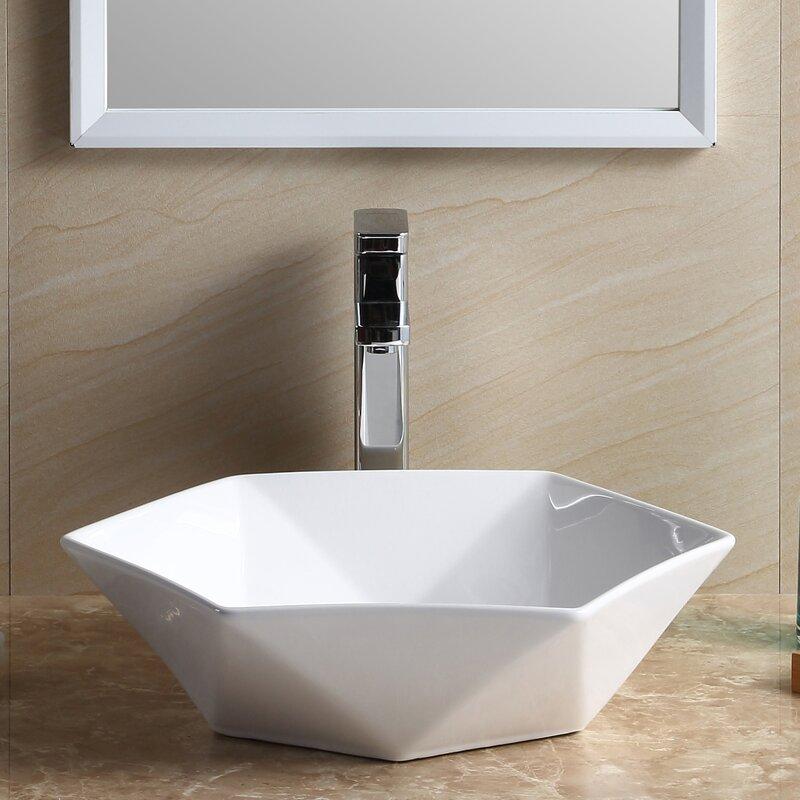 Modern Vitreous China Specialty Vessel Bathroom Sink